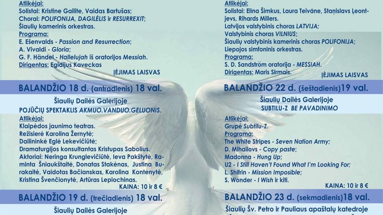 """Balandžio 17 – 23 dienomis, Šiauliuose vyks jubiliejinis velykinės muzikos festivalis """"Resurrexit"""""""